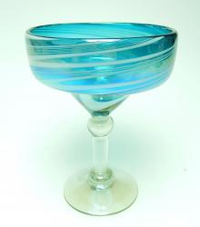 Margarita 15oz Turquoise and White Swirl Iridescent