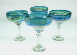 Margarita 15oz Turquoise and White Swirl Iridescent set of four