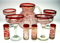 Mexican glass Margarita and Shot Glasses with Matching Pitcher, Red Spiral Rim, Set of 4 Each