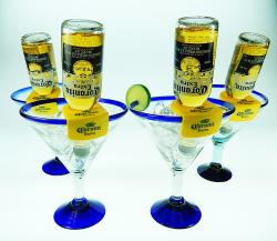 Mexican glass blue rim Corona Rita Coronarita beer bottle holder 4