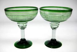 Margarita Glasses, Green Spiral Rim, 14oz, Set of 2