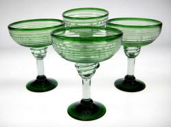 Margarita Glasses, Green Spiral Rim, 14oz, Set of 4