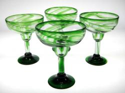 Margarita Glasses, Green Swirl, 14oz, Set of 4