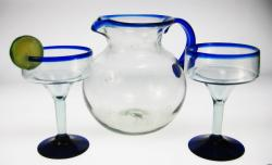 Mexican glass Margarita blue rim with matching Pitcher, Set of Two
