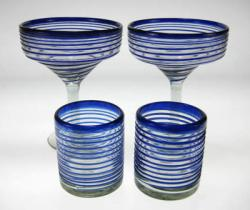 Margarita & Drinking Glasses, Blue Spiral Rim, Set of 2 Each