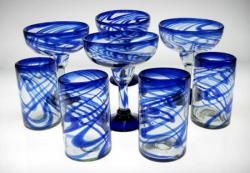 Mexican glass Blue Swirl Margarita and Tumblers 4