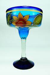Mexican Margarita Glass XXL 56oz Yellow Sun Flower on Blue