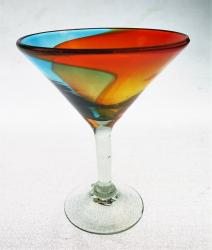 Margarita MARTINI Glass 10oz Tricolor Rainbow