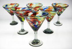 martini margarita glasses 6 confetti swirl Mexico free shipping