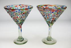 Mexican  glass, bubble glass bumpy confetti marrtini