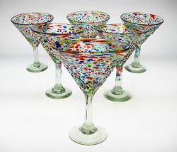 Mexican glass bumpy confetti martini glasses made in Mexico