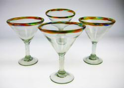 martini glass confetti rim hand blown Mexico 4