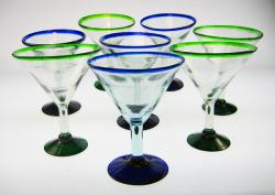 martini glasses blue rim green rim hand blown Mexico