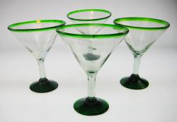 Green Rim Martini Glasses 4