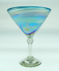 Martini 12oz Turquoise and White swirl Iridescent