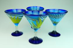 Mexican Glass, Margarita Martini Fish on Blue 15oz  Set of Four