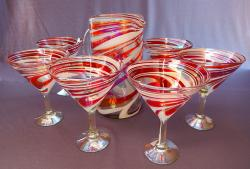 Red & White Swirl Pitcher with six Martini glasses