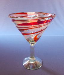 Red & White Swirl Martini 12oz  Mexican Blown Glass