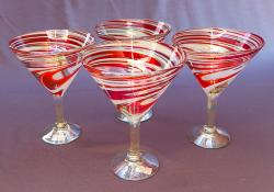 Red & White Swirl Martini glasses 12 oz  set of Four