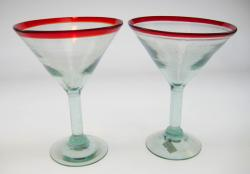 martini glasses red rim hand blown Mexico 2