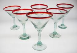 martini glasses red rim hand blown Mexico 6