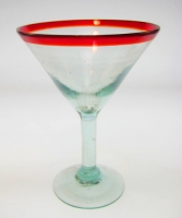 martini glass red rim hand blown Mexico