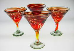 Red Swirl Martini Glasses, Set of four