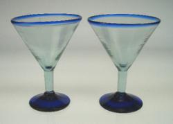 martini glass blue rim hand blown Mexico 2