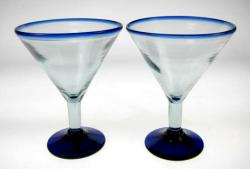 Martini Glasses, Blue Rim, Set of Two, 20oz