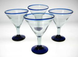 Mexican blue glass, martini blue rim 4