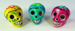 Day of the dead skulls bright colors set of 3