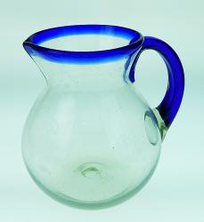 Mexican glass Pitcher, Blue Rim, 2 1/2 quarts, 10 cups