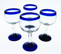 Wine Glasses hand blown 14oz Blue Rim, Tulip Shape 4 made in Mexico