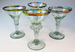 Martini Glasses Confetti Rim 6oz, four