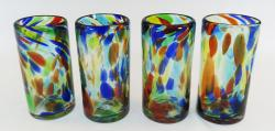Mexican Blown Glass, Confetti Swirl, Juice 10oz set of four