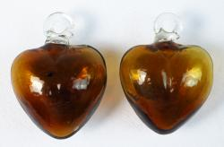 Amber blown glass hearts two made in Mexico  2 inch