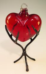 Mexican Glass heart in Thorn stand Medium
