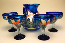Mexican Painted Orchid Pitcher & Four glasses