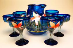 Mexican Painted Orchid Set Pitcher & Six glasses