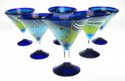 Mexican Glass, Margarita Martini Fish on Blue 15oz Set of Six