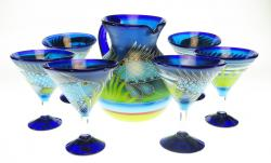Mexican Glass Pitcher & Six Martini glasses, FISH in the Sea