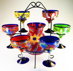 Mexican glass margarita set with pitcher and rack