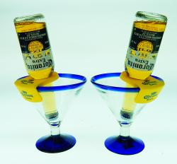 Mexican Margarita Glasses two 15oz with CoronaRita holder short stem