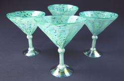 Martini 12oz Pistacio and White Confetti, set of four