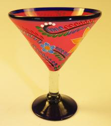 Mexican Margarita Martini Glass hand painted pop flower Pink.