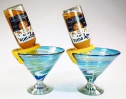 Martini Margarita Short 15oz Turquoise White swirl, Two with coronarita clips