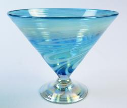 Martini Margarita Short 15oz Turquoise  White swirl Iridescent