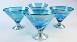 Martini Margarita Short 15oz Turquoise White swirl Iridescent, Four