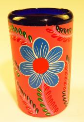 Mexican Glass Blue Rim 16 oz Hand Painted POP Pink