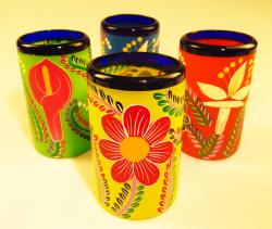 Mexican Glass tumblers 16 oz set of four hand painted POP flowers